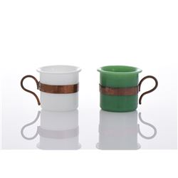 Green And White Peking Glass Cups