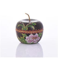 Cloisonne Enameled Apple Shape Trinket Box