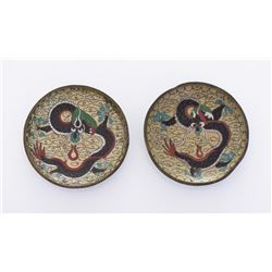 Two Cloisonne Flying Dragon Dishes.