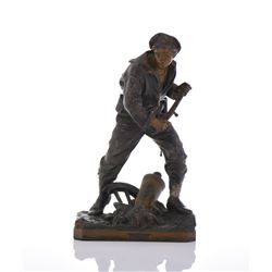 WWI Navy Cold Painted Metal Sculpture.