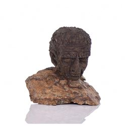 Hard Clay Sculpture Mounted On Stone