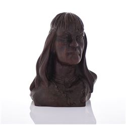 Wood Carved Bust Of A Tribal Man, Brazil