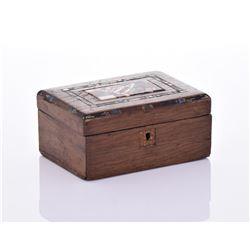 Mid Century Inlaid Wood Lock Box.