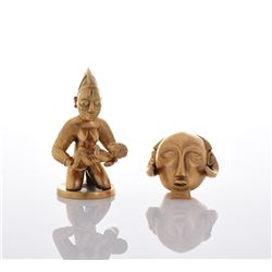 Two 24kt Gold Plated Metal African Miniatures