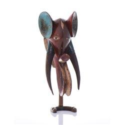 Wood Polychromed Elephant Mask.