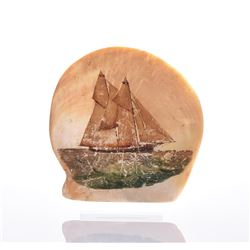 Painted Sea Shell Of Large Sail Boat.