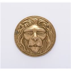 Brass Lion Head Paper Weight Medallion.