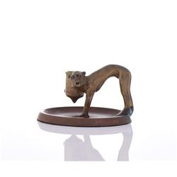19th Century Solid Bronze And Copper Monkey