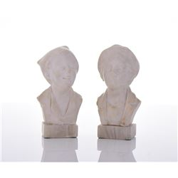 Two Alabaster Carved Sculptures Of Young Boys