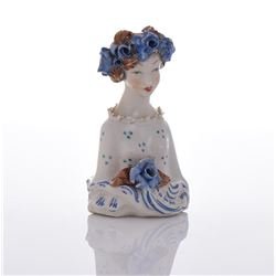 Ceramic Figurine of Lady With Blue Flower