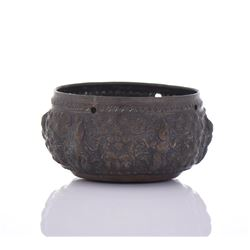 18th Century Hindu Bronze Repousse Offering  Bowl