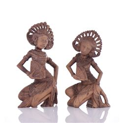 Two Signed Sari Wood Carved Princesses.