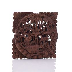 Wood Carved High Relief Panel
