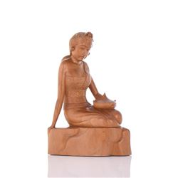 Solid Wood Carving Of A Young Seated Princess