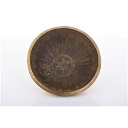Heavy Solid Bronze Inscribed Bowl.