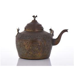 Copper And Bronze Inscribed Tea Pot.