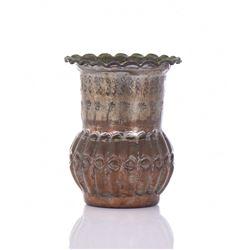 Bronze And Copper Mixed Metal Vase.