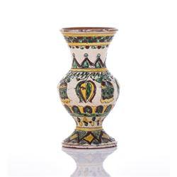Majolica Carved Polychromed Clay Vase