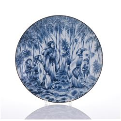 20th Century Blue And White Porcelain Plate