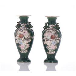 Two Satsuma Green Vases.