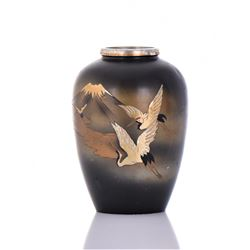 Japanese Metal Vase With Inscribed Painted