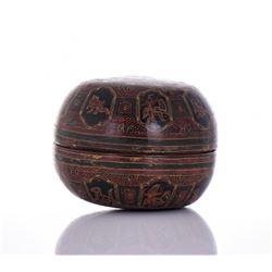 Papier Mache Lacquer Circular Lidded Bowl