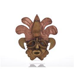 Folk Art Copper Bronze Brass Punched Art