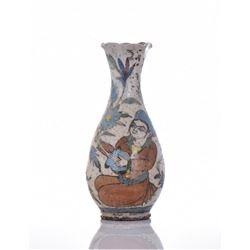 Exquisite Qajar Glazed Ceramic Flower Vase
