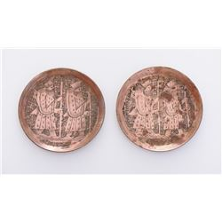 Two Copper Inscribed Plates.