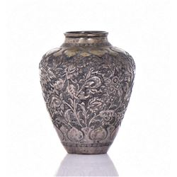 Metal Repousse Vase With Floral Patterns