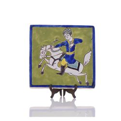 Hand Painted Glazed Tile Of An Archer