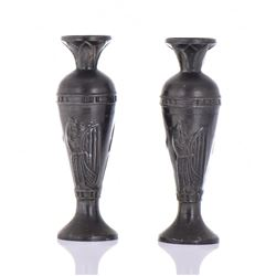 Two Pewter Vases With Egyptian Harp Player