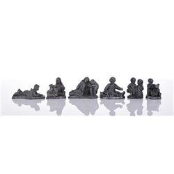 Michael Ricker, Six Pewter Figurines.