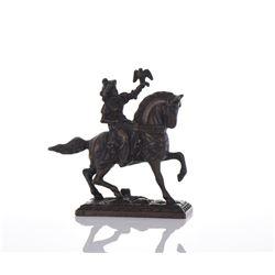 Arab Falconer On Horseback Bronze.
