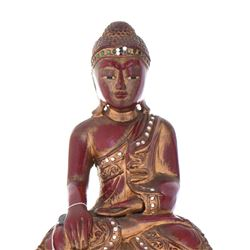 Red Lacquer And Gold Gilt Wood Seated Buddha