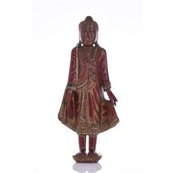 Red Lacquer And Gold Gilt Wood Standing Buddha