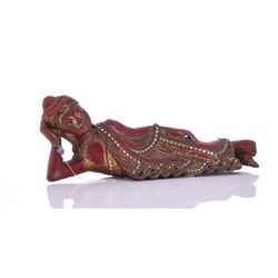 Red Lacquer And Gold Gilt Wood Laying Buddha