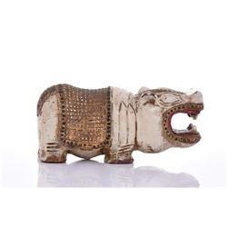 Wood Polychromed Hippo.