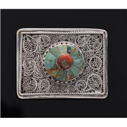 Sterling Silver Red Coral And Turquoise Buckle