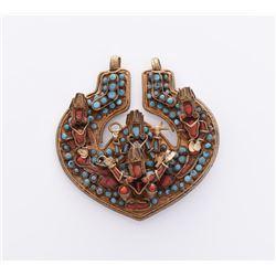 Tibetan Medallion Pendant Decorated