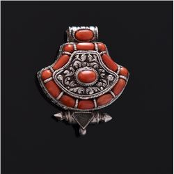 Mid To Late 19th Century Red Coral Sterling