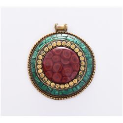 Medallion Brass Pendant With Green