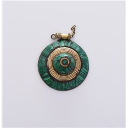 Medallion Brass Pendant With Green Malachite