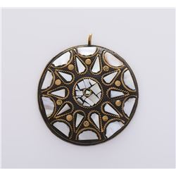 Medallion Brass Pendant With Mother Of Pearl
