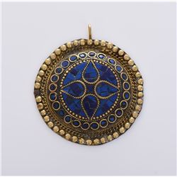 Medallion Brass Pendant With Lapis Lazuli