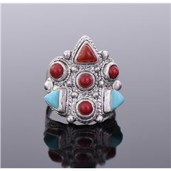 Red And Blue Stone Sterling Silver Ring.