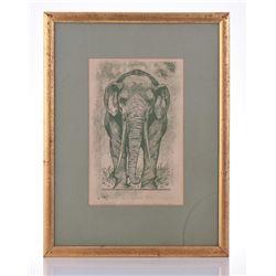 Paul Riba, 1912-1977, Elephant, Serigraph