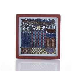 Swedish Folk Art Glazed Tile, Signed G.