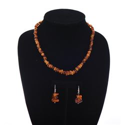 Beaded Raw Baltic Amber Necklace and Earring