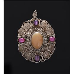 Victorian Sterling Silver Filigree Pendant